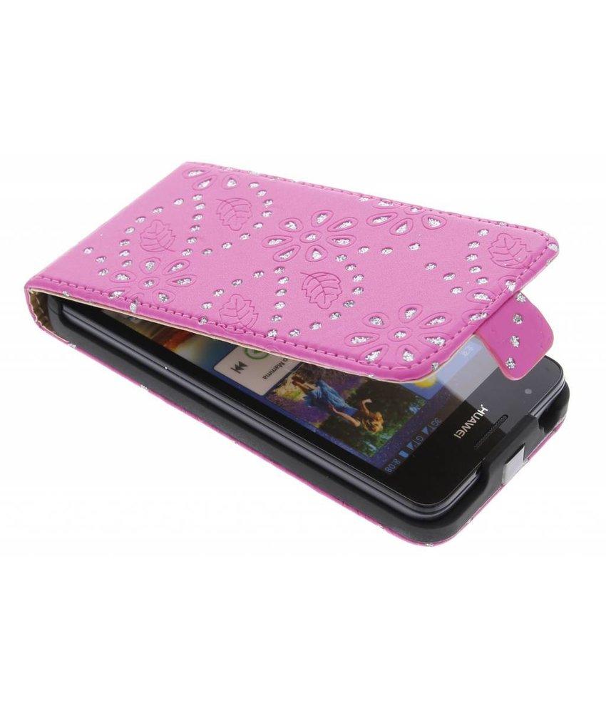 Fuchsia bloemblad design flipcase Huawei Ascend G510