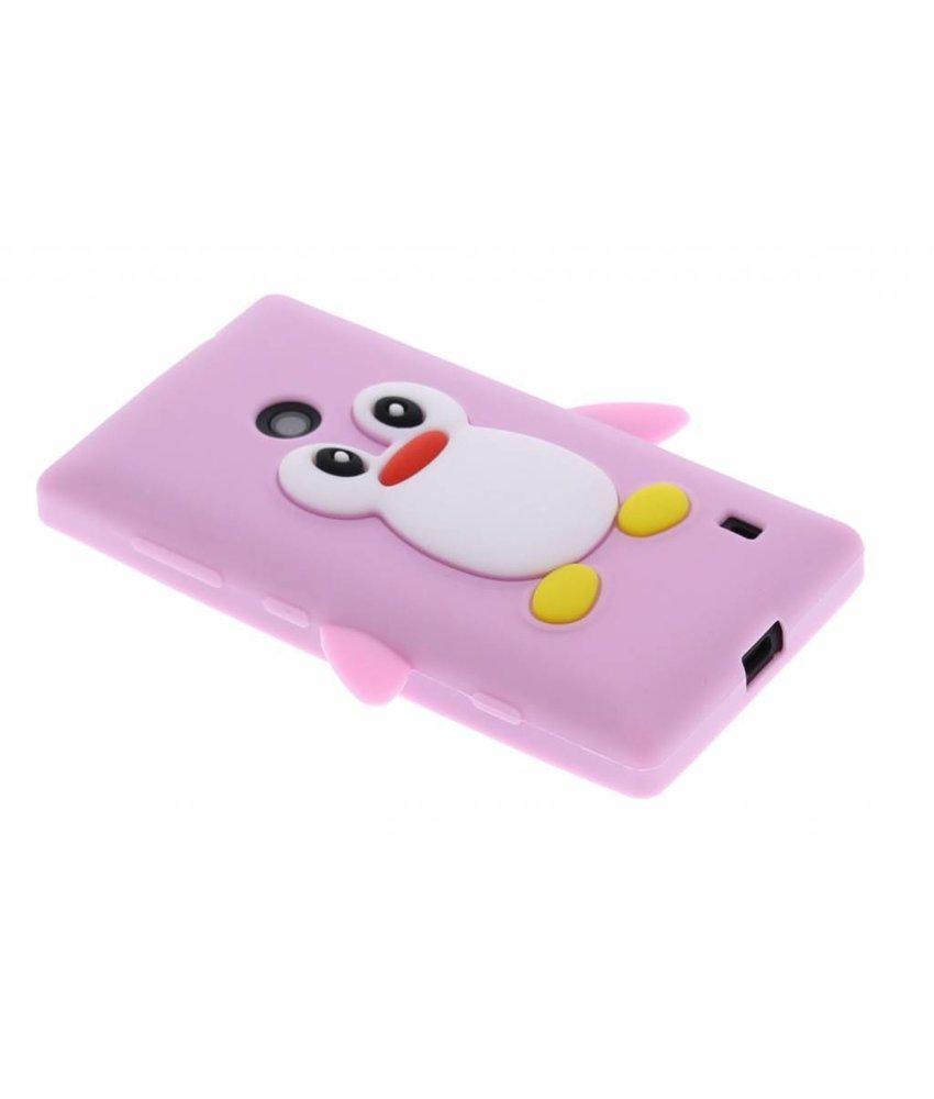 Roze pinguin siliconen hoesje Nokia Lumia 520