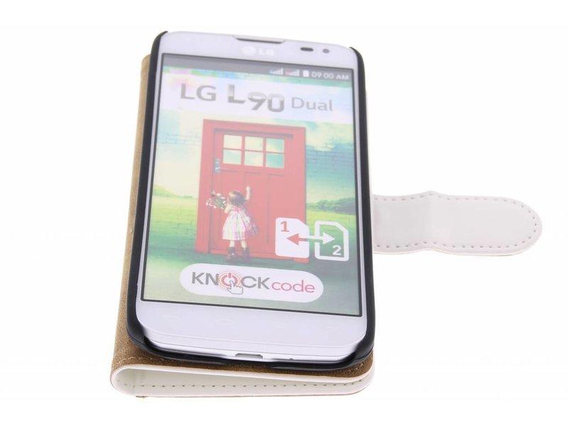 LG L90 hoesje - Witte effen booktype hoes