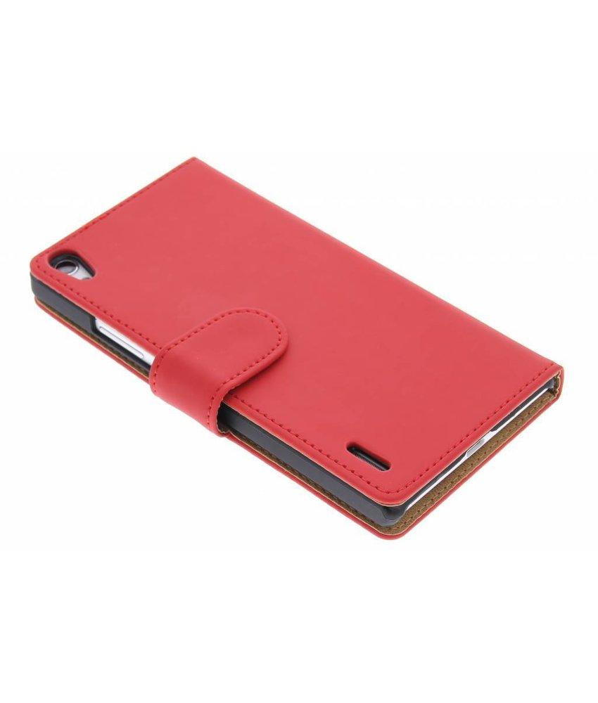 Rood effen booktype hoes Huawei Ascend P7