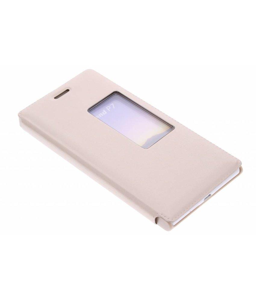 Goud slim booktype met venster Huawei Ascend P7