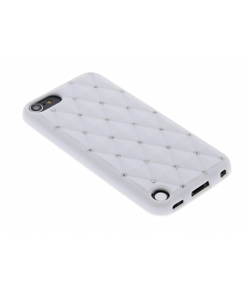 Wit siliconen hoesje met strass iPod Touch 5g / 6