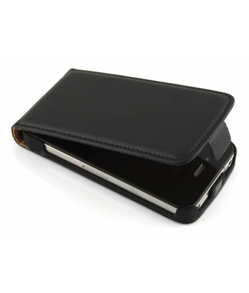 Zwart luxe flipcase iPhone 4 / 4s