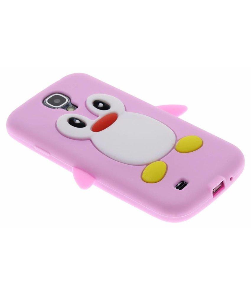 Roze pinguin siliconen hoesje Samsung Galaxy S4