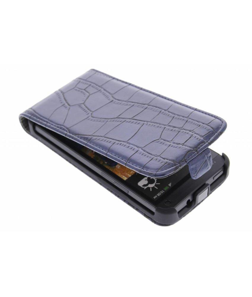 Donkerblauw krokodil flipcase HTC One