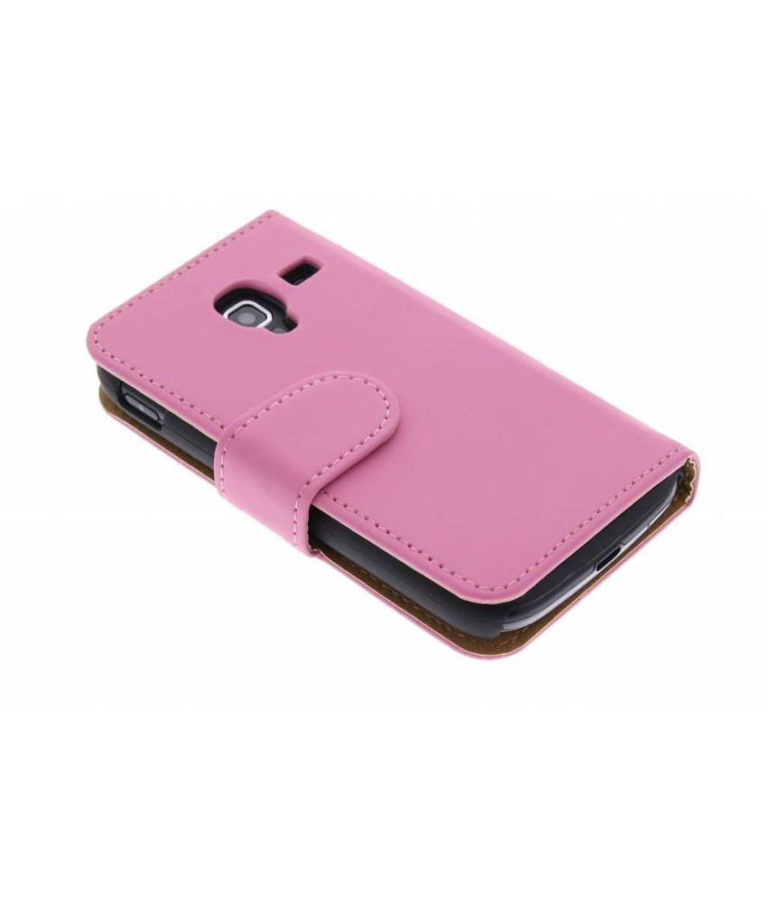 Roze effen booktype hoes Samsung Galaxy Ace 2