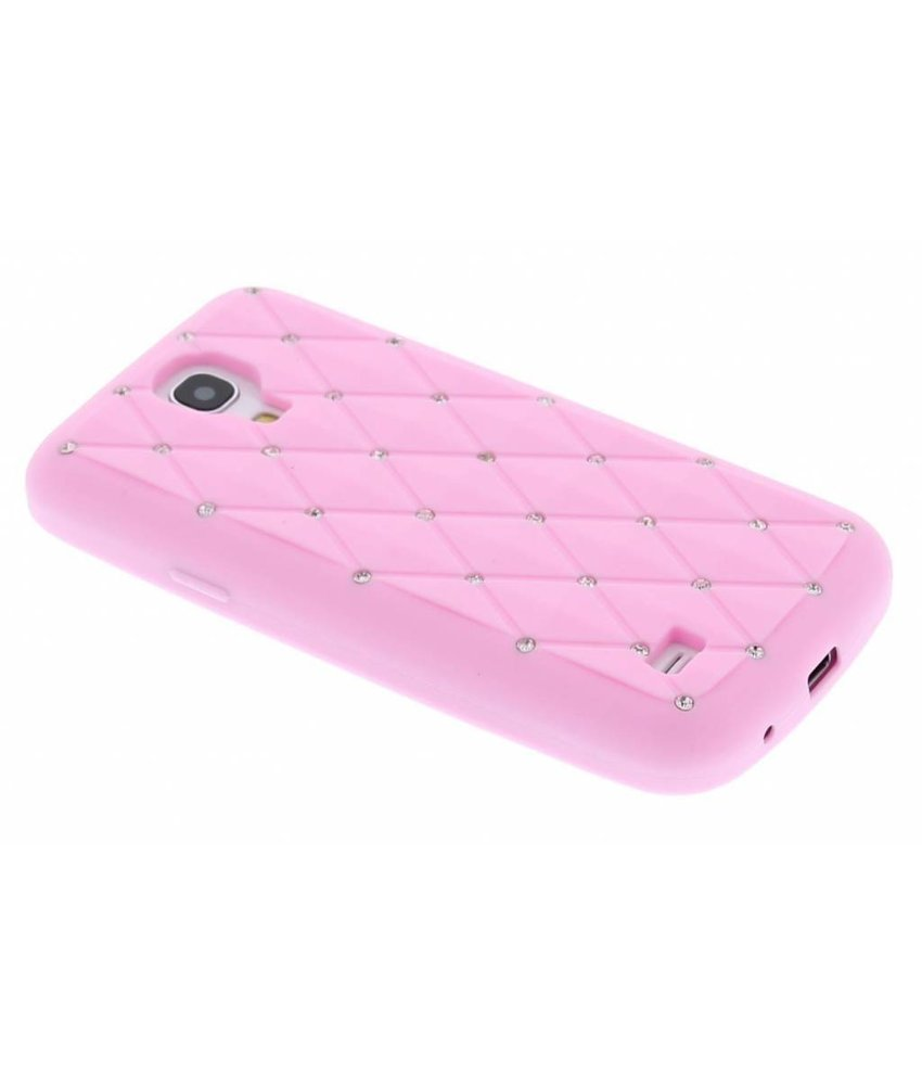 Roze siliconen hoesje met strass Samsung Galaxy S4 Mini