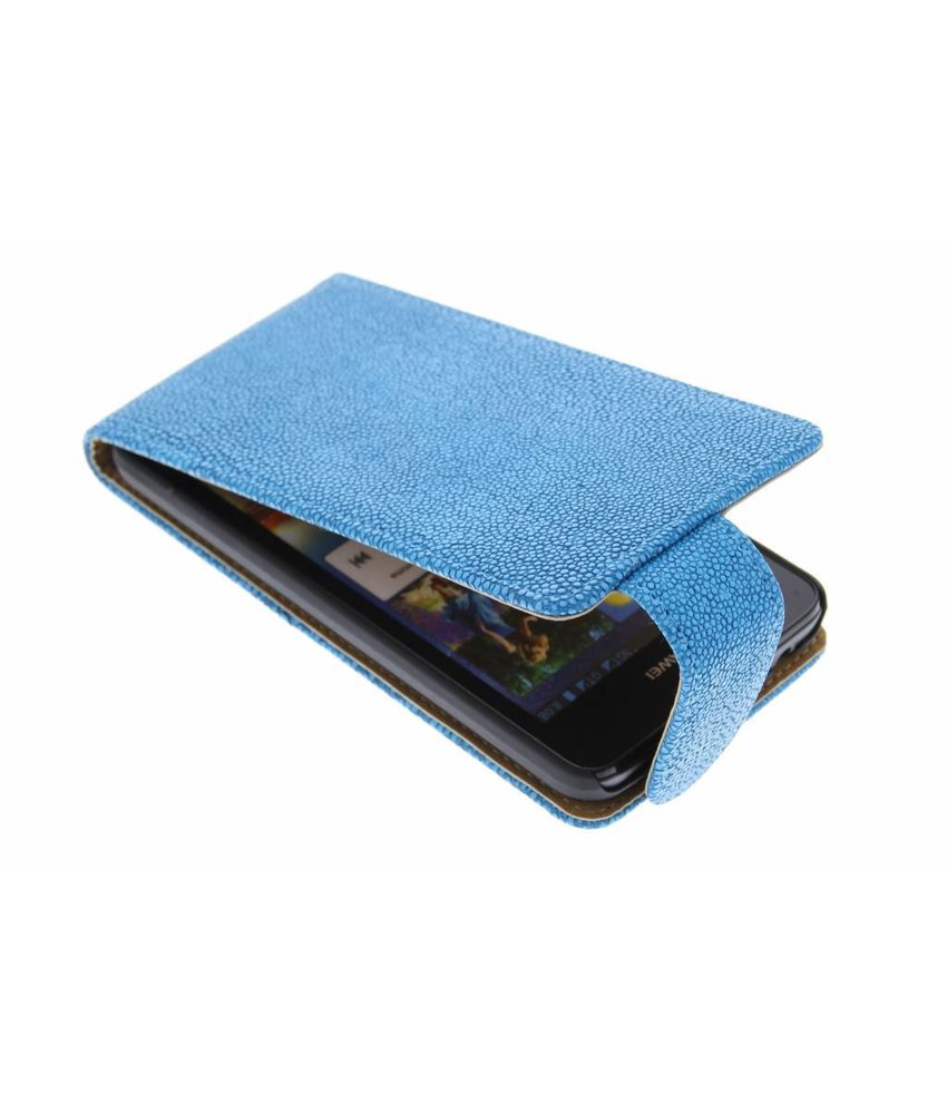 Blauw glanzend ribbelige flipcase Huawei Ascend G510