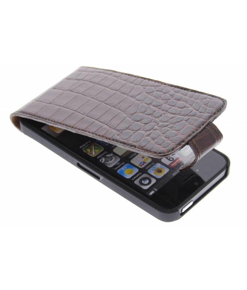 Valenta Flip Croco iPhone 5 / 5s / SE - bruin