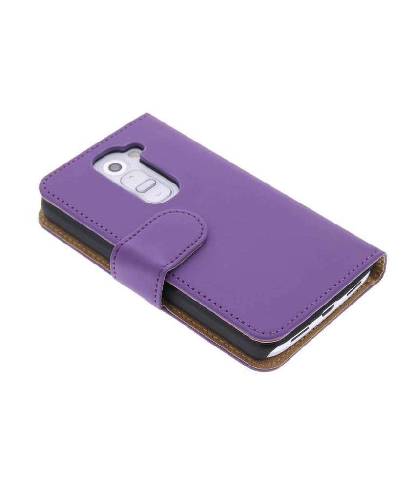 Paars effen booktype hoes LG G2 Mini