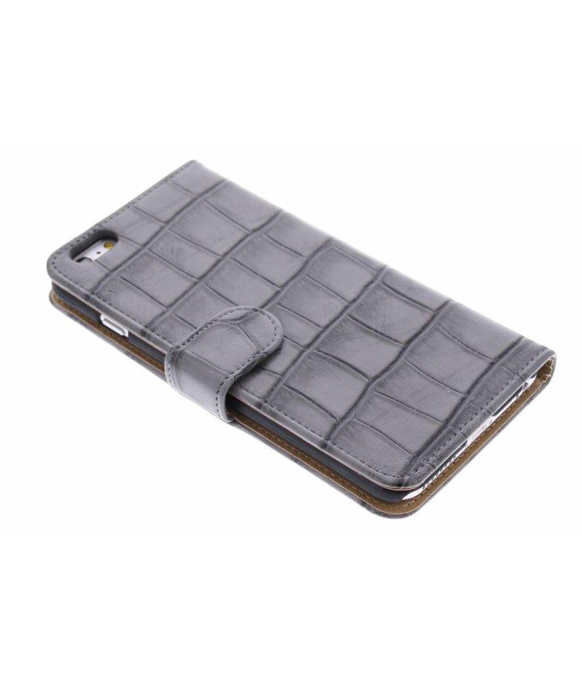 Grijs glanzende krokodil booktype hoes iPhone 6 / 6s