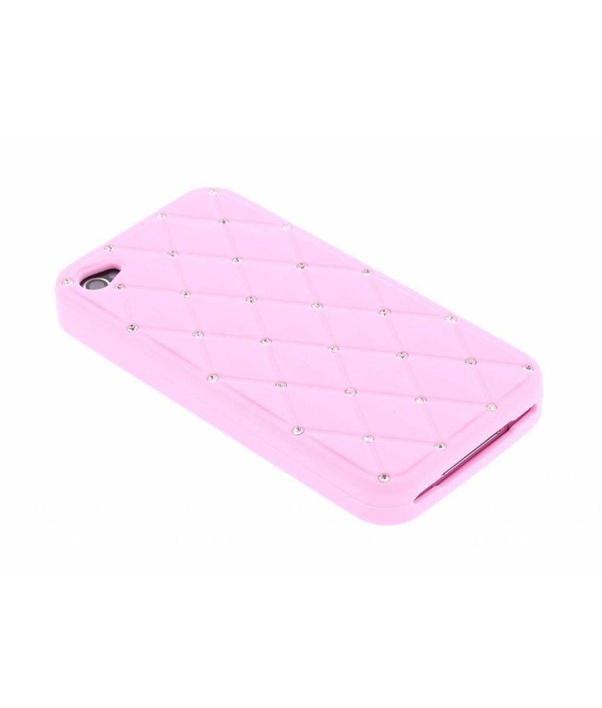 Roze siliconen hoesje met strass iPhone 4 / 4s