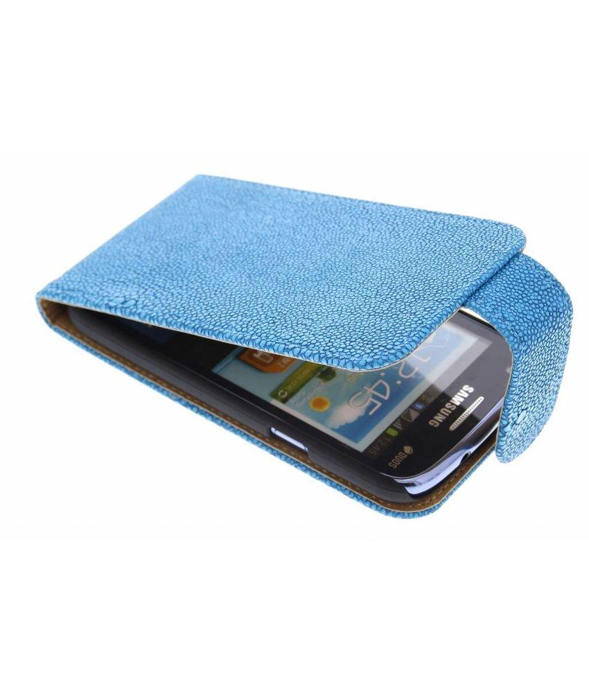 Blauw glanzend ribbelige flipcase Samsung Galaxy Core