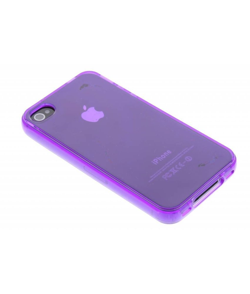 Paars transparant gel case iPhone 4 / 4s
