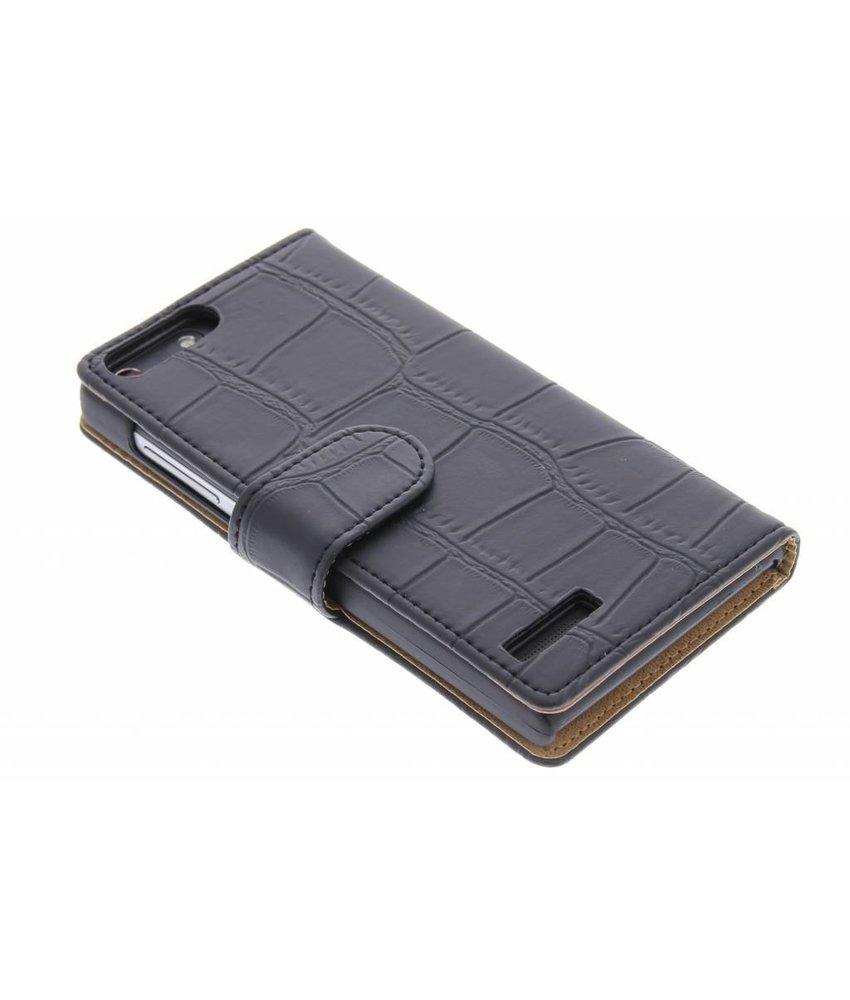 Zwart krokodil booktype hoes Huawei Ascend G6 4G