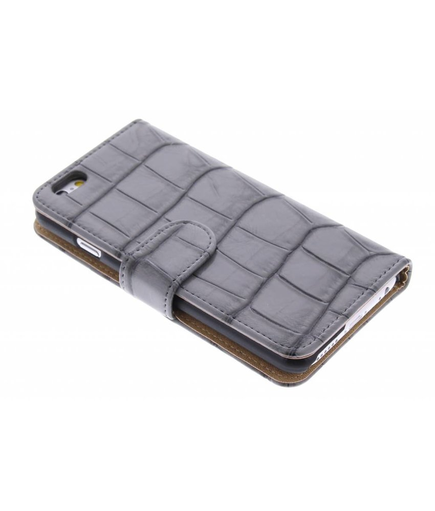 Grijs glanzende krokodil booktype hoes iPhone 6(s) Plus