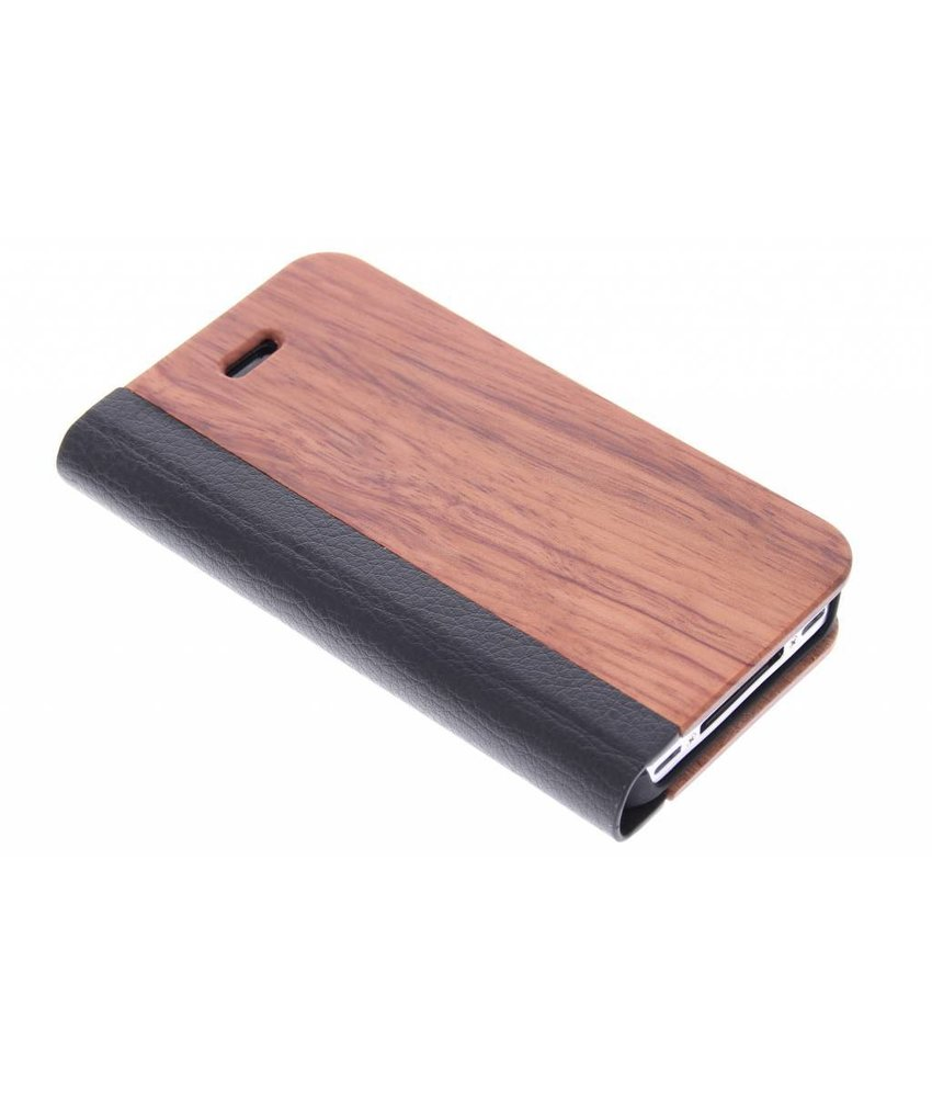 Hout lederen booktype hoes iPhone 4 / 4s