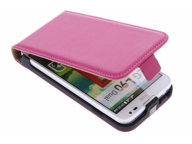 LG L90 hoesje - Fuchsia luxe flipcase voor