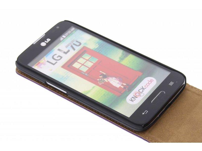 LG L70 hoesje - Paarse classic flipcase voor