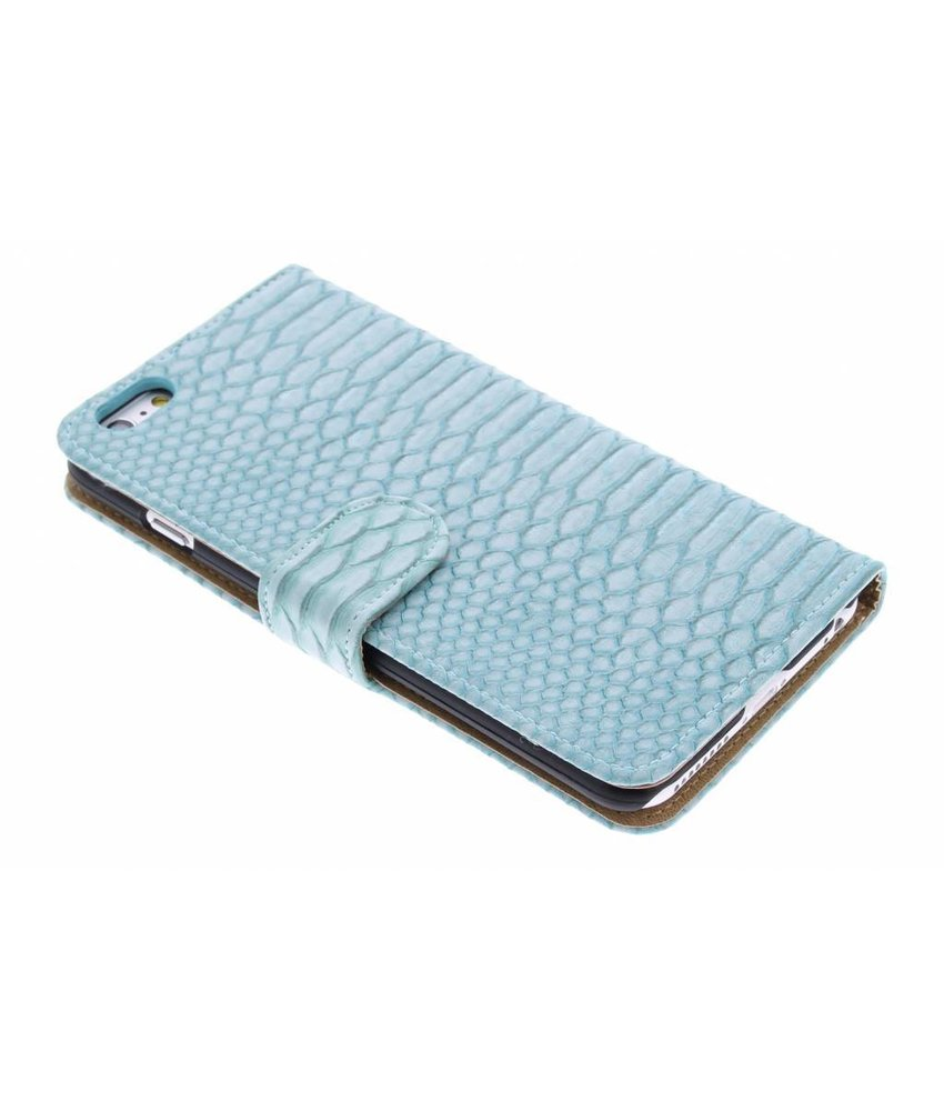 Turquoise slangen booktype hoes iPhone 6(s) Plus