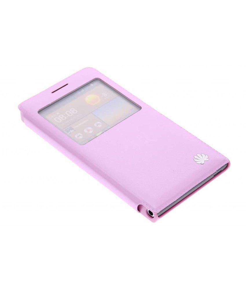 Roze slim booktype met venster Huawei Ascend G6