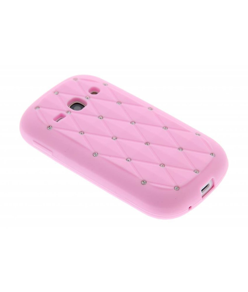 Roze siliconen hoesje met strass Samsung Galaxy Fame