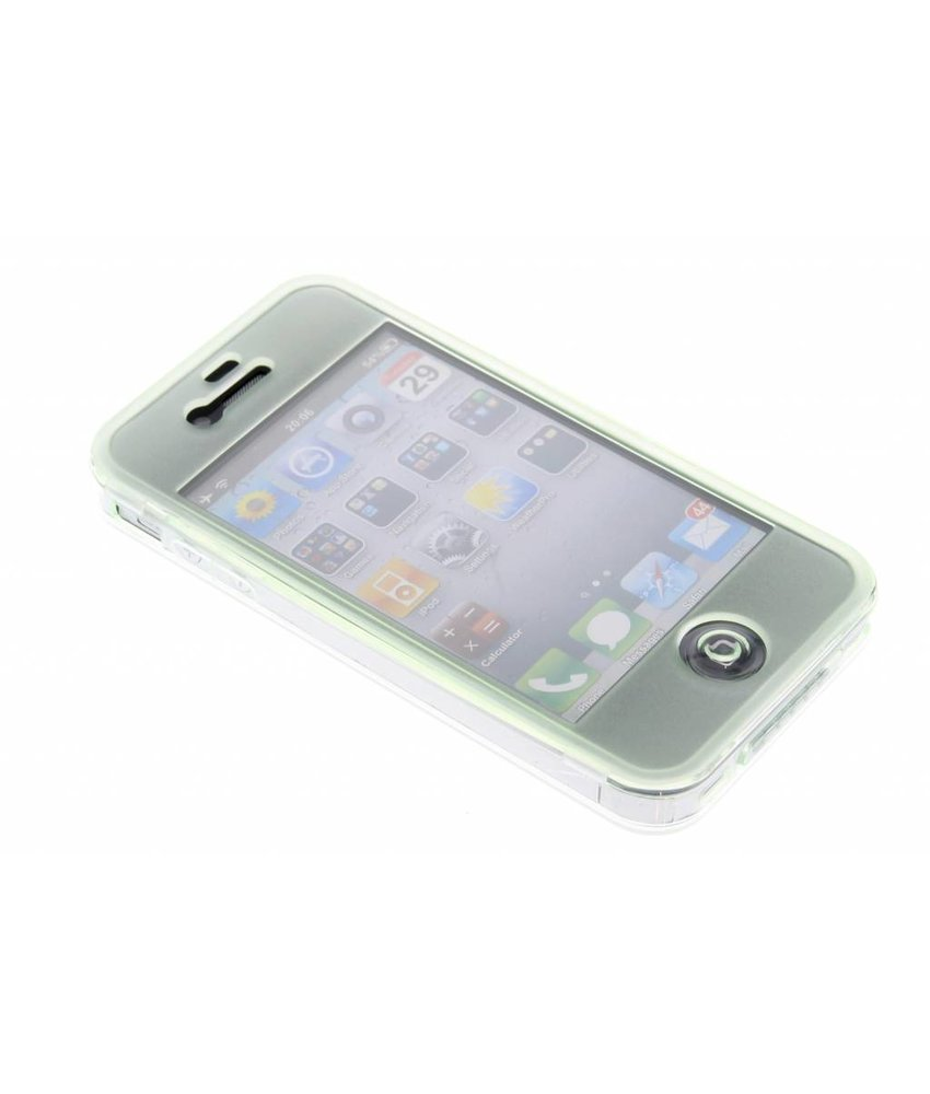 Groen transparant siliconen booktype hoes iPhone 4 / 4s