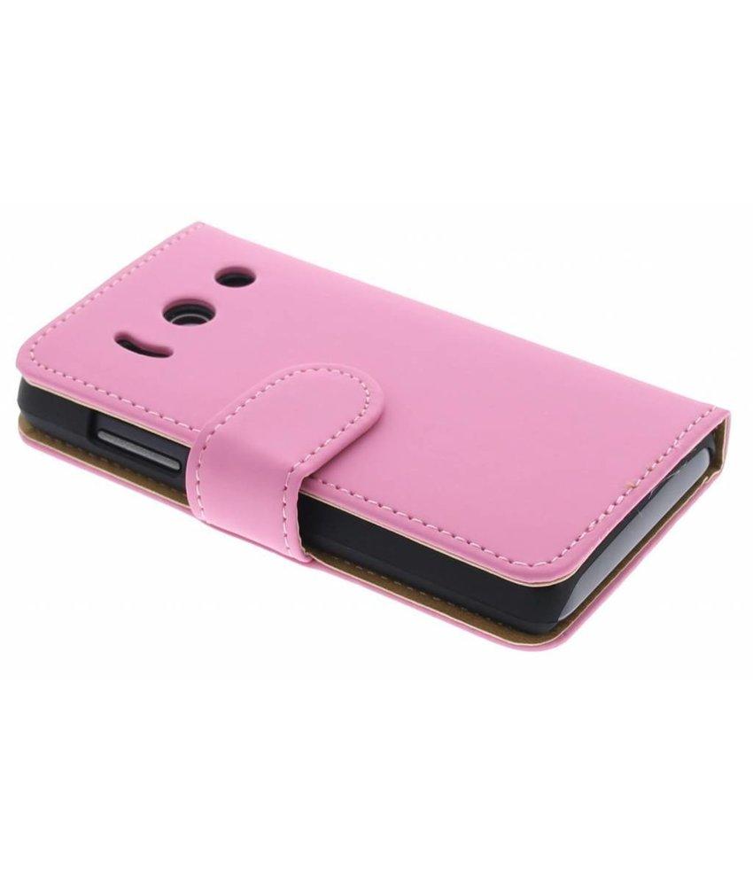 Roze effen booktype Huawei Ascend Y300