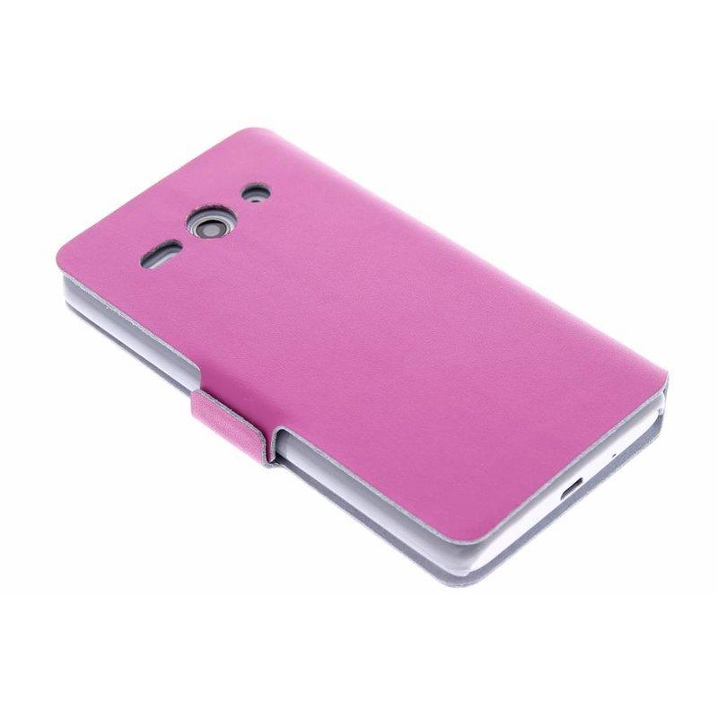 Fuchsia Case Booktype Nervuré Brillant Pour Huawei Ascend Y530 RCf5wf