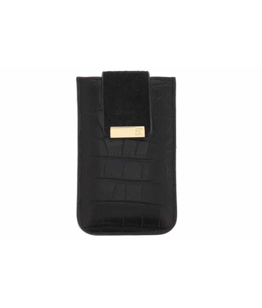 SuperTrash Alli Phone Pouch iPhone 5 / 5s / SE - Black Croc & Pale Gold