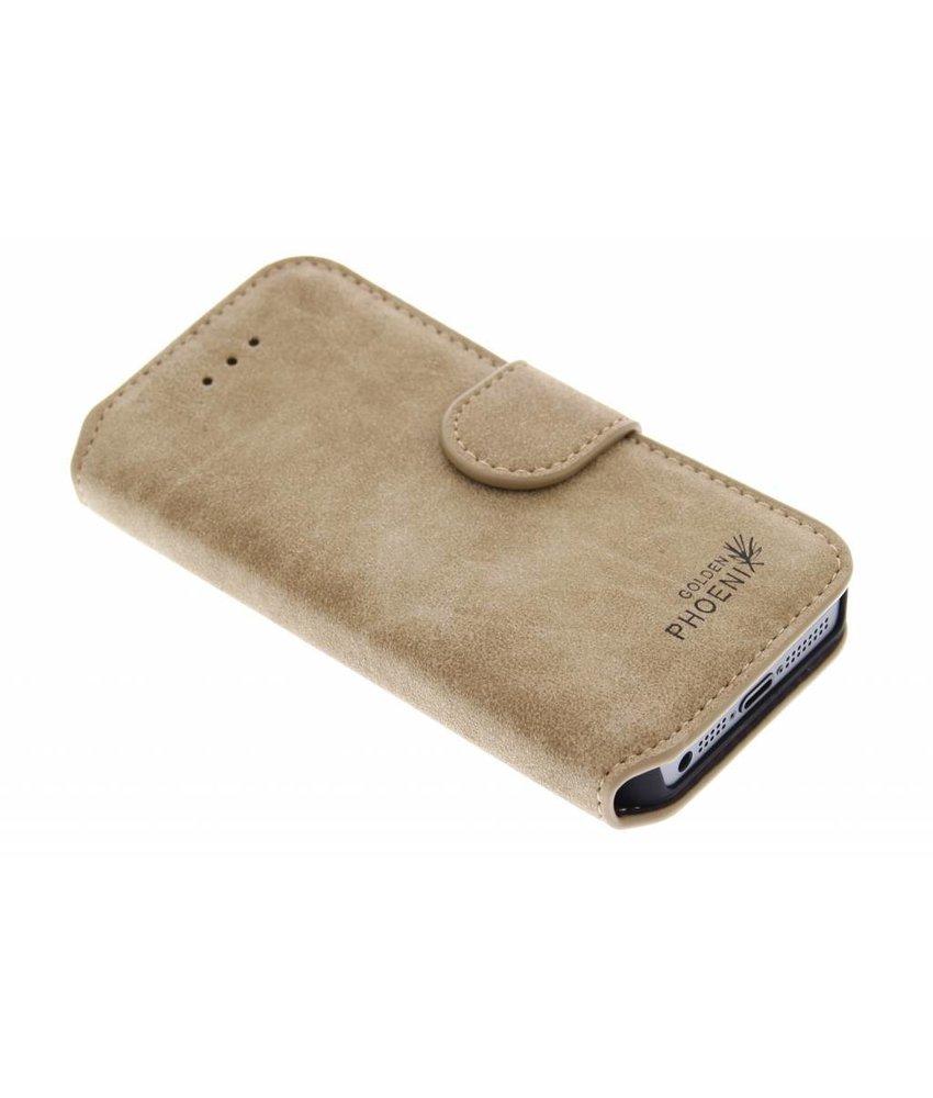 Kaki luxe suède booktype hoes iPhone 5 / 5s / SE