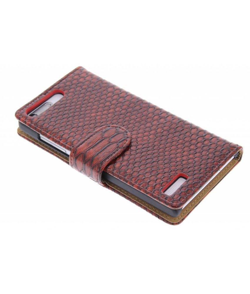 Rood slangen booktype hoes Huawei Ascend G6
