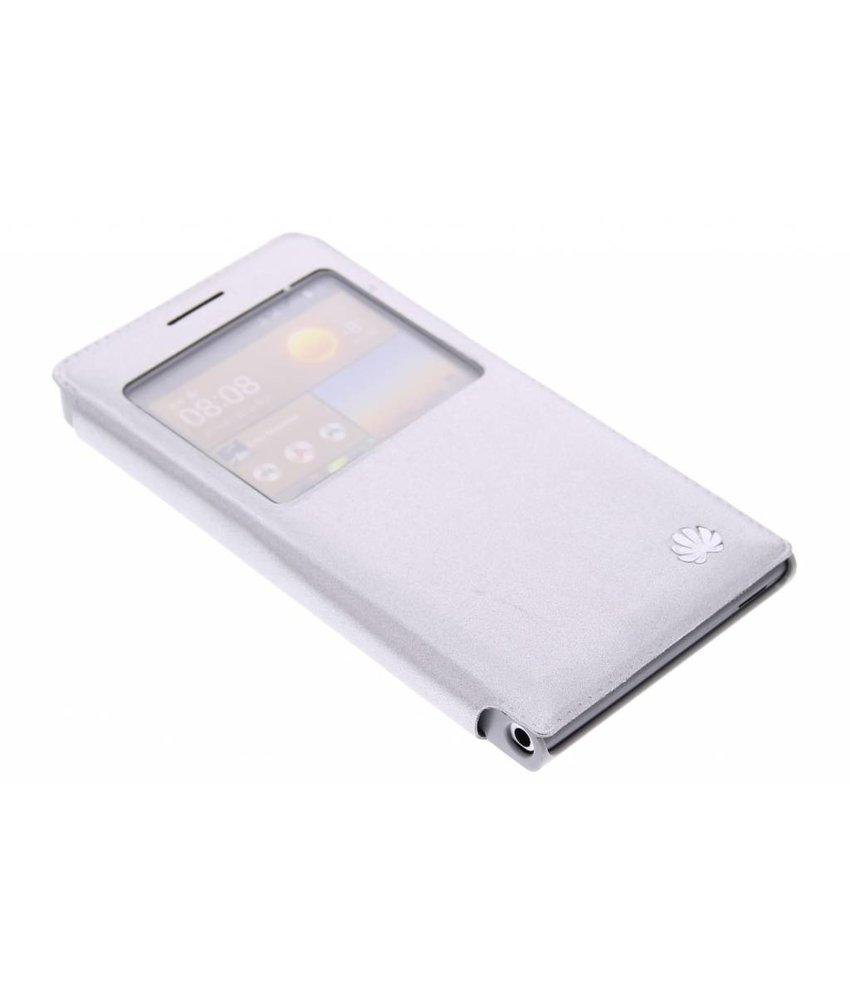 Zilver slim booktype met venster Huawei Ascend G6