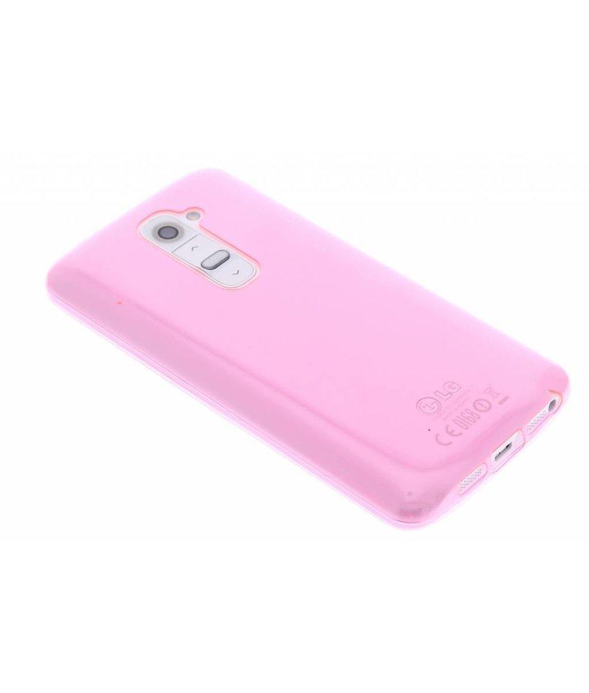 Roze ultra thin transparant TPU hoesje LG G2