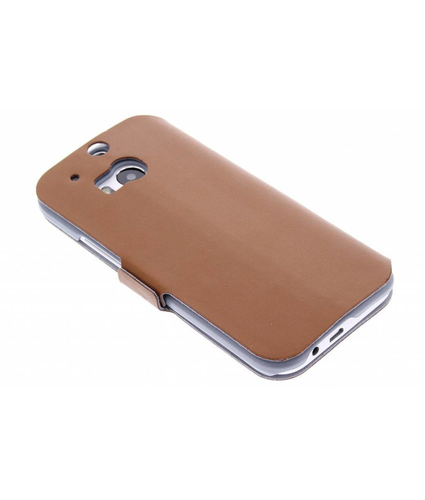 Bruin luxe booktype hoes HTC One M8 / M8s