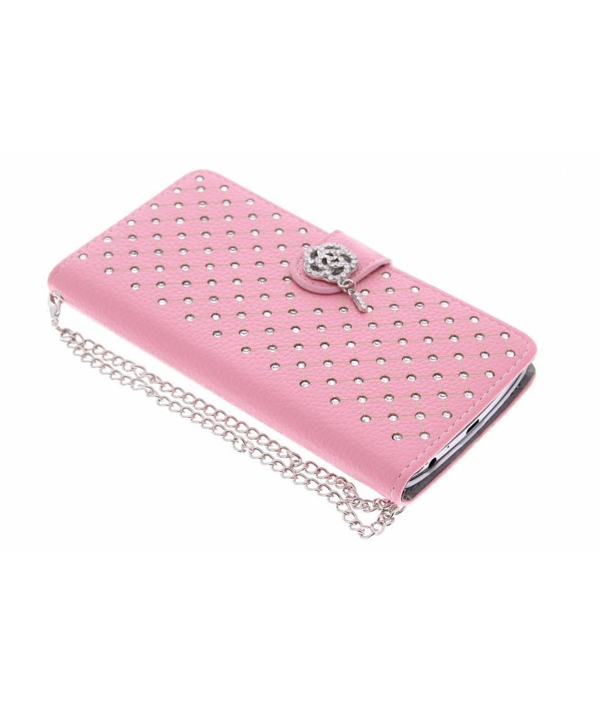 Roze chique strass booktype hoes LG G3