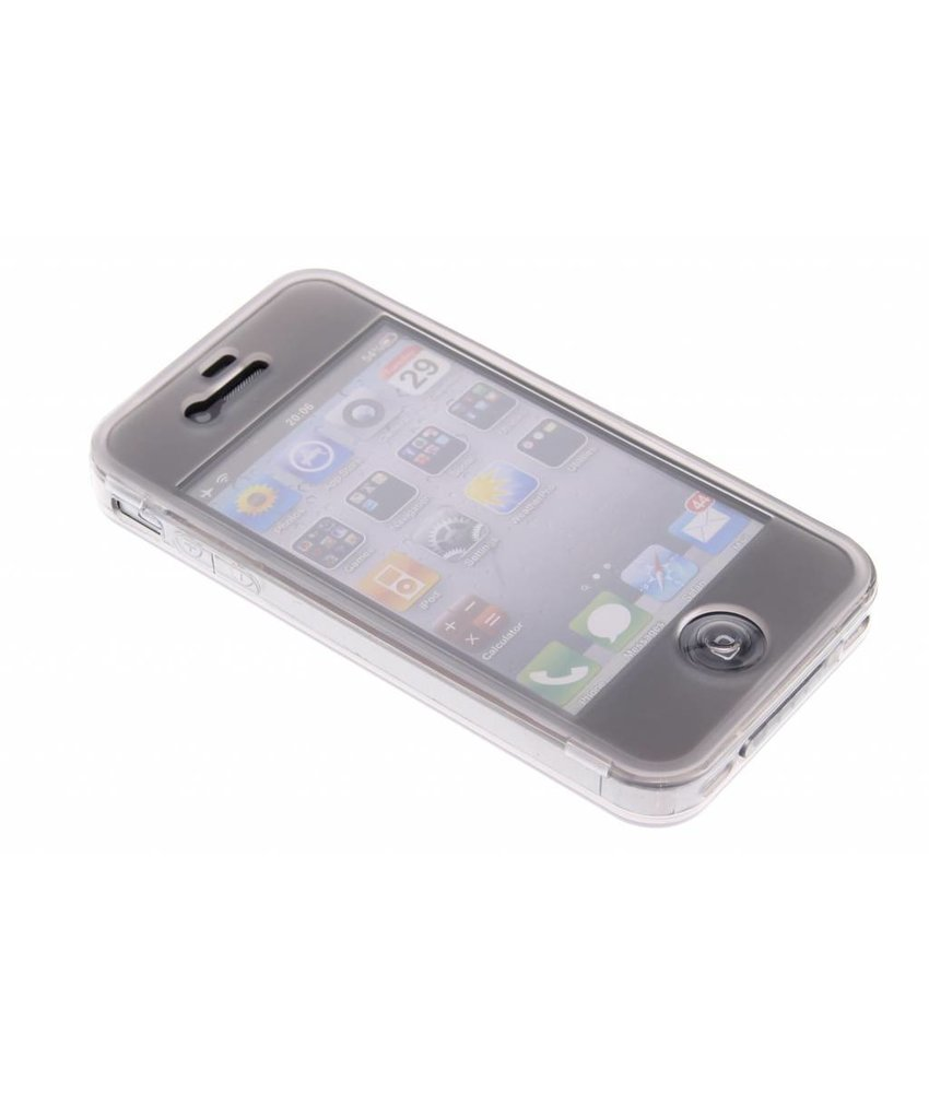 Grijs transparant siliconen booktype hoes iPhone 4 / 4s