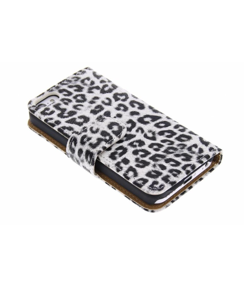 Wit luipaard booktype hoesje iPhone 5c