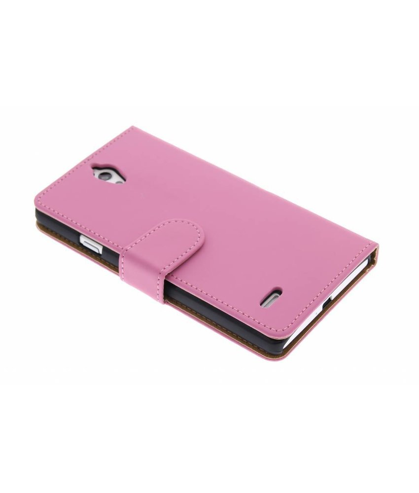 Roze effen booktype hoes Huawei Ascend G700