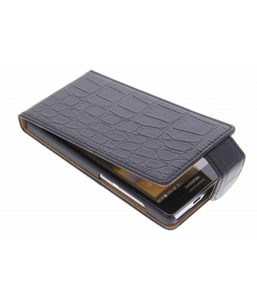 Zwart krokodil flipcase Huawei Ascend G6