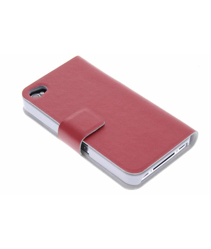 Rood stijlvolle booktype hoes iPhone 4 / 4s