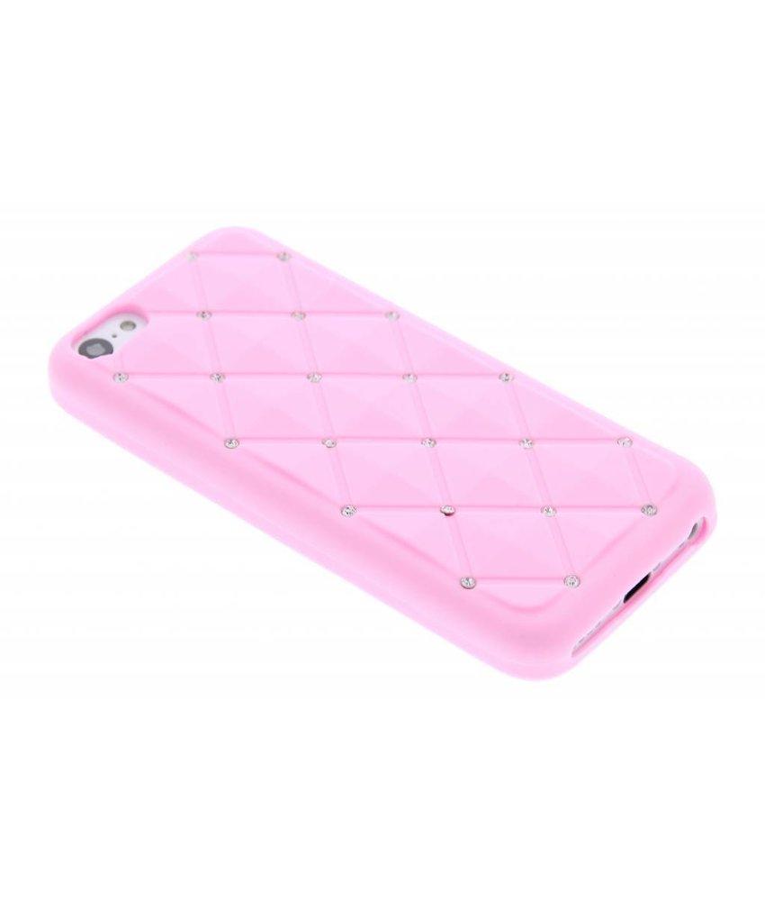 Roze siliconen hoesje met strass iPhone 5c