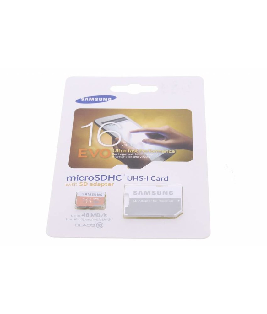 Samsung 16GB EVO microSDHC geheugenkaart + SD adapter