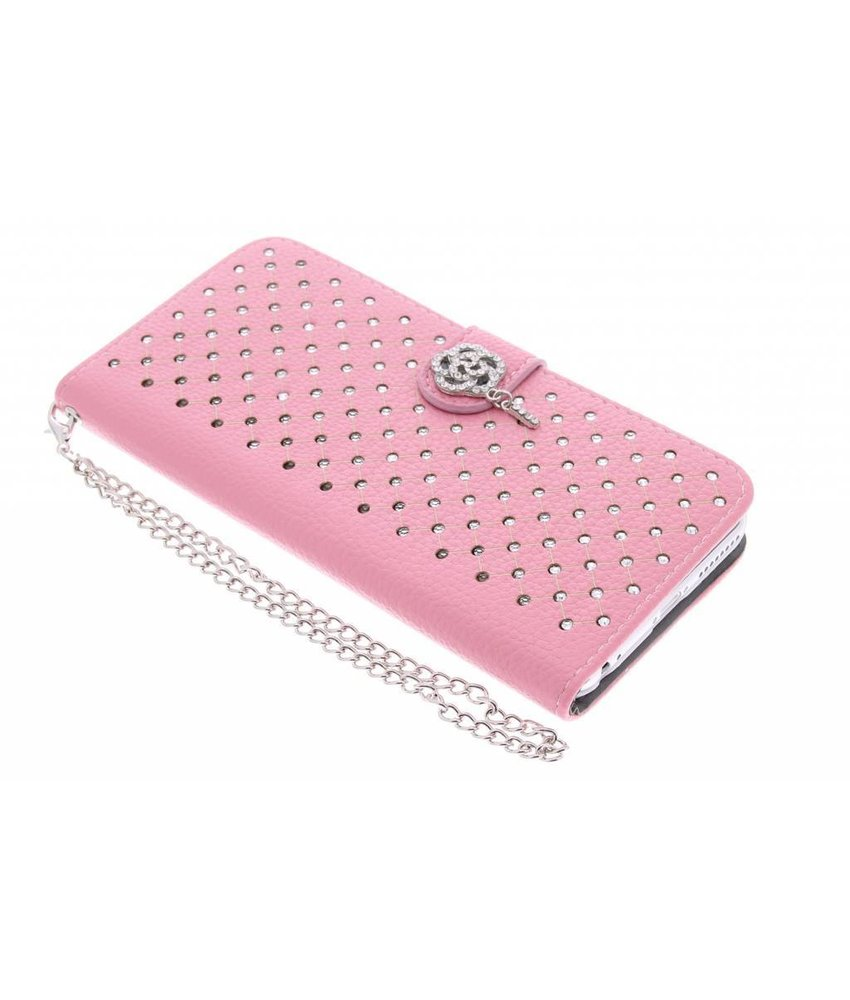 Roze chique strass booktype hoes iPhone 6(s) Plus