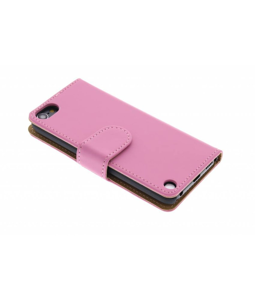Roze effen booktype hoes iPod Touch 5g / 6