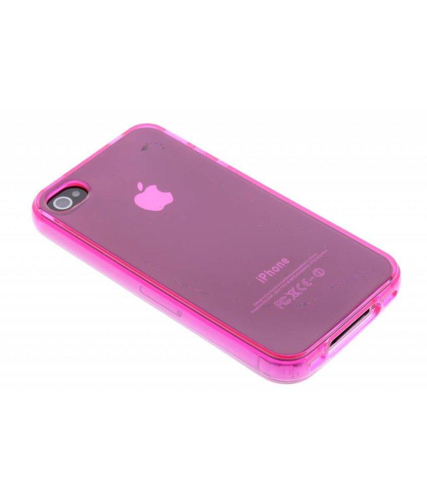 Fuchsia transparant gel case iPhone 4 / 4s