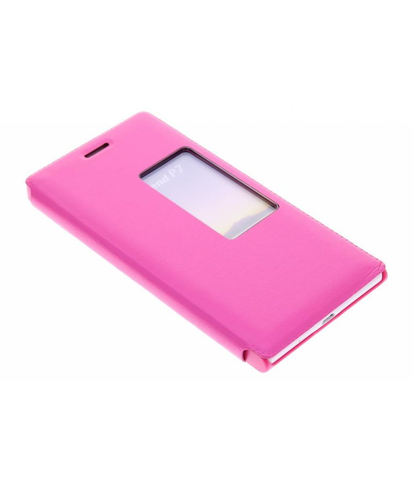 Fuchsia slim booktype met venster Huawei Ascend P7