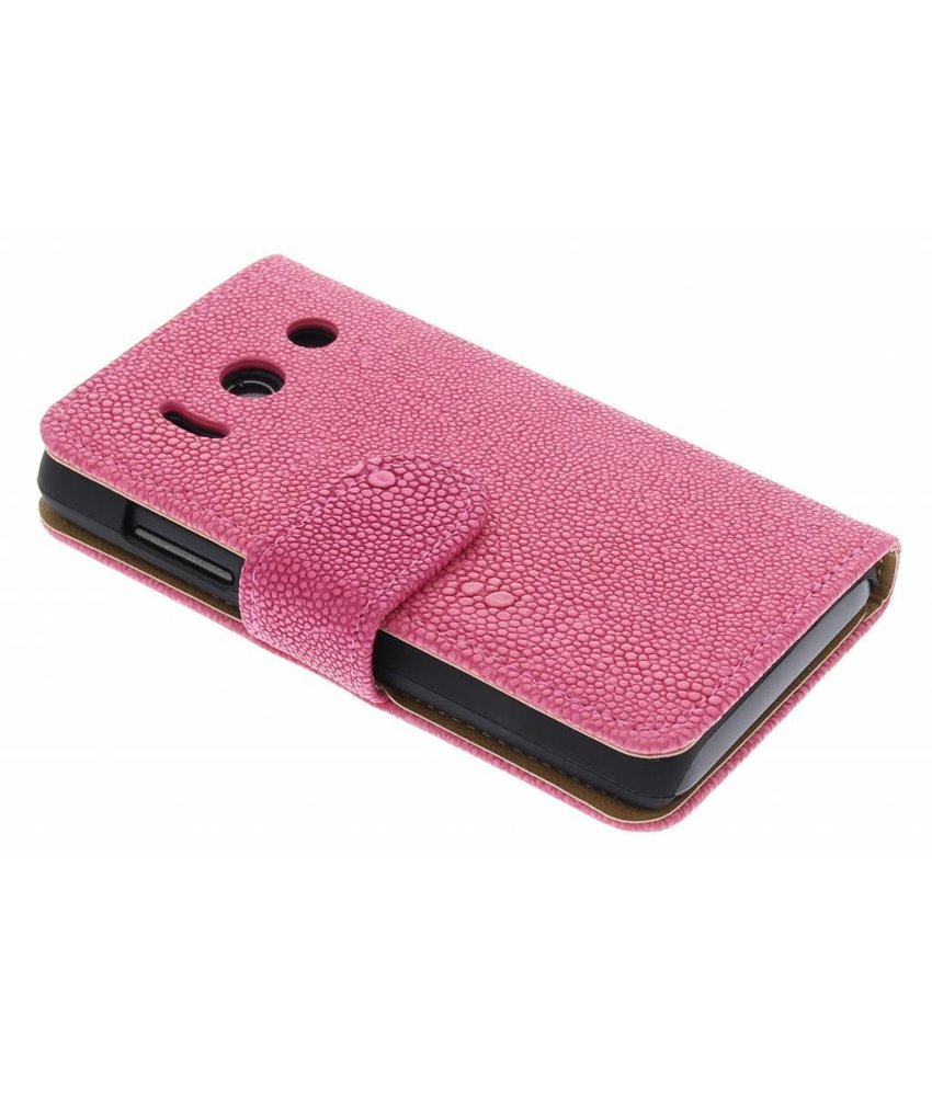 Fuchsia glanzend ribbelig booktype hoes Huawei Ascend Y300