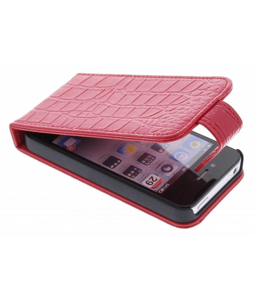 Rood glanzend krokodil flipcase voor iPhone 4(s)