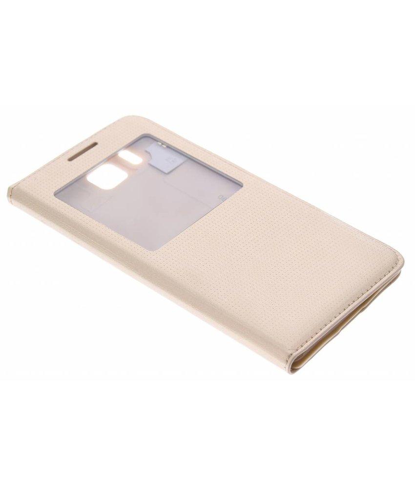 Goud flipcover met venster Samsung Galaxy Alpha